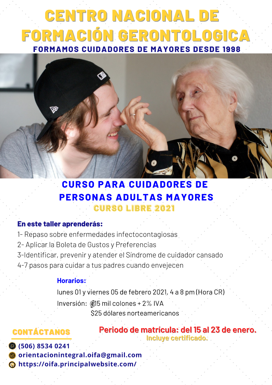 Curso Libre para personas cuidadoras gerontológicas