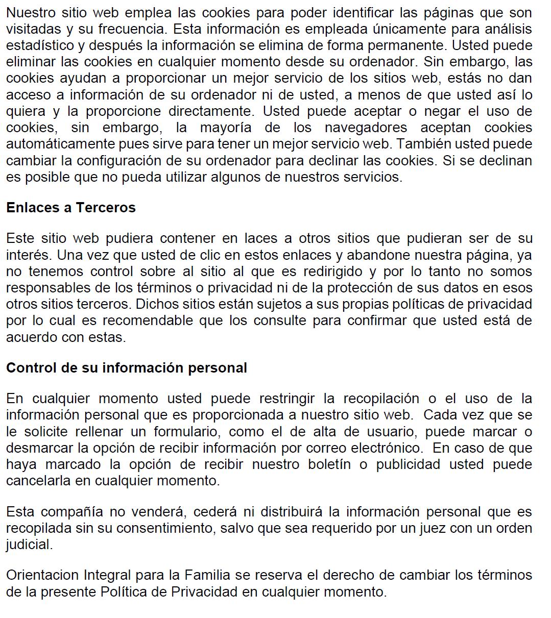 Política de Privacidad de OIFA -continuación-