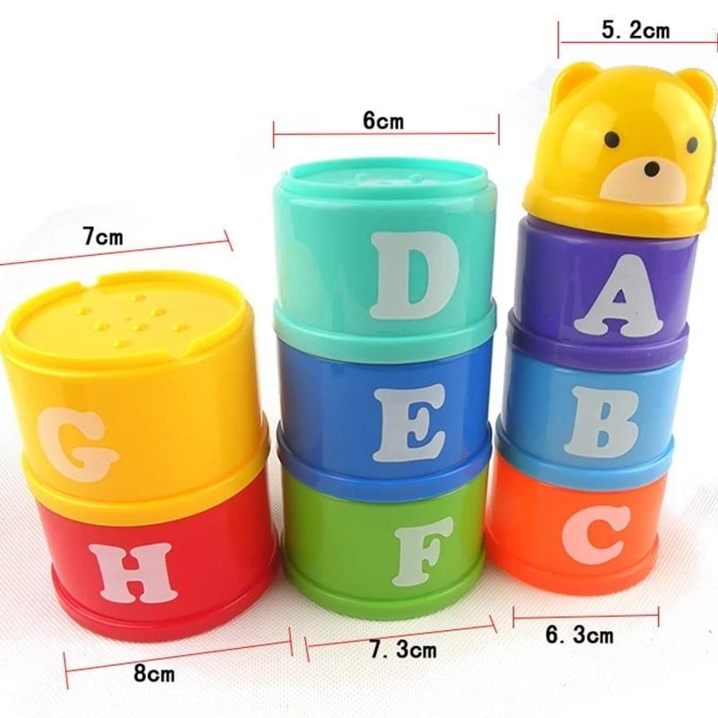 Apilables en Colores con Letras, Números y Cara de Osito para bebés