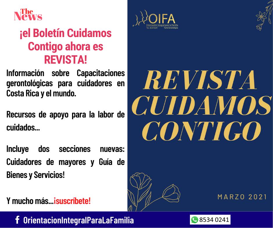 Revista Cuidamos Contigo, solicítala al 8534 0241, es gratuita.
